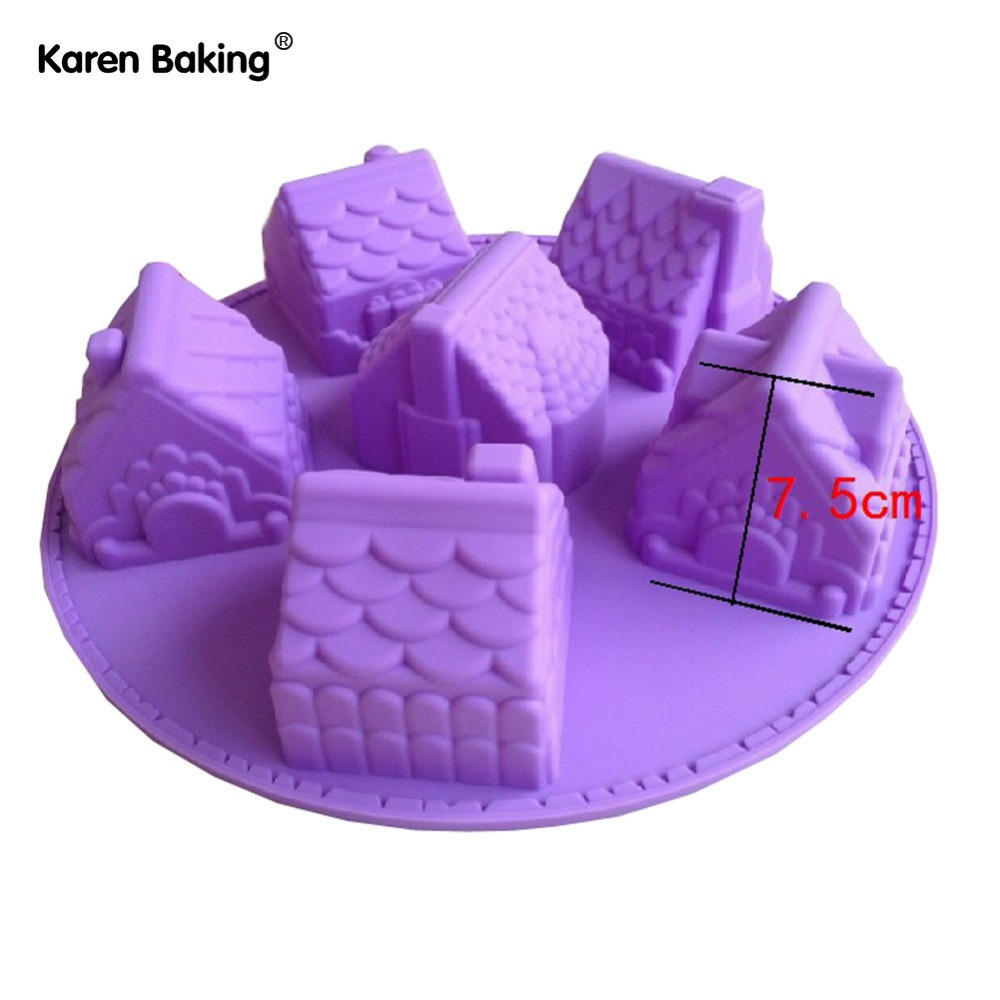 1PCS House Fondant Cake Pan Silicone Mold Sugarcraft Baking Pan Cake Decoration B006(China (Mainland))
