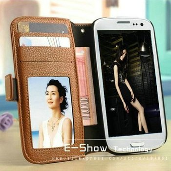Top quality leather case for SAMSUNG I9300 women wallet case for Galaxy Siii with 3 bill site stand function free shipping 2013