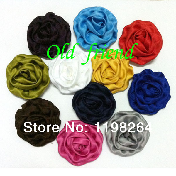 "3"" Rolled flower Satin Rolled Rosette Fabric rose Flowers Flat Back For Hair Accessories 40Pcs/lot 22 color Free Shipping(China (Mainland))"