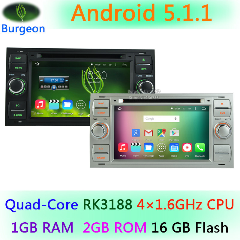 HD 1024*600 Quad Core Android 5.1.1 Car DVD Stereo Radio Player For Ford Focus Kuga Mondeo Connect Transit Fiesta GPS navigation(China (Mainland))