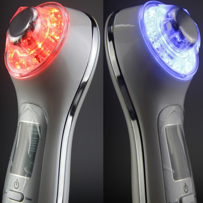 Free Shipping Ultra Sound 3MHZ EMS Bio Red Blue Green Yellow Light Photon Position Negative Ion Face Lifting Firming Massager(China (Mainland))