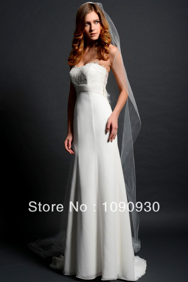 2014 new design elegant simple sweetheart sleeveless for Simple elegant wedding dress designers