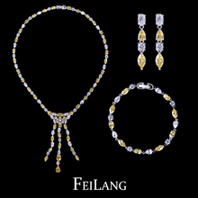 Women Sexy White Gold Plated Yellow AAA+ Swiss CZ Diamond Long Tassel Bridal Jewelry Sets for Wedding and Party (FSSP083)