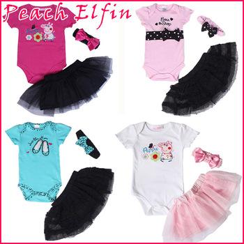 2014 new brand baby girl romper set bodysuit+tutu skirt+headband 3pcs suit,infant & new born summer clothes Polka-dot outfit
