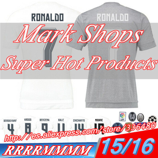 New arrival 15/16 Spain La Liga Club White/Gray ss best quality soccer football jersey,James Sergio Ramos soccer football jersey(China (Mainland))