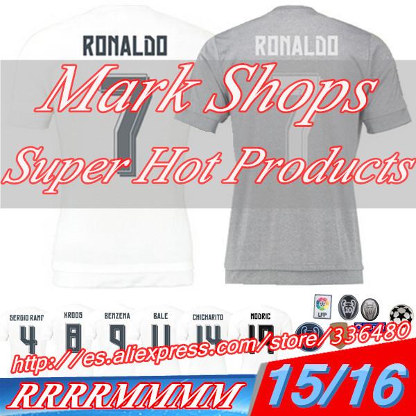 New arrival 15/16 Spain La Liga Club White/Gray ss best quality soccer football jersey,James Sergio Ramos soccer football jersey(China (Mainland))