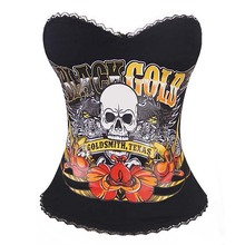 AliExpress |Oro Smith de Texas del hueso del cráneo del corsé de Halloween de algodón tramo corsés góticos mujeres de encaje de Formación de la cintura de corsé sexy top