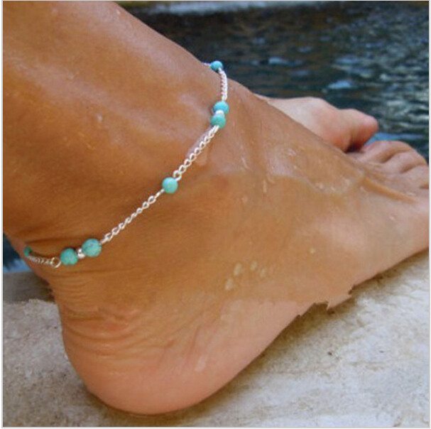 Unique Nice Turquoise Beads Silver Chain Anklet souvenir Ankle Bracelet Foot Jewelry Fast Free Shipping