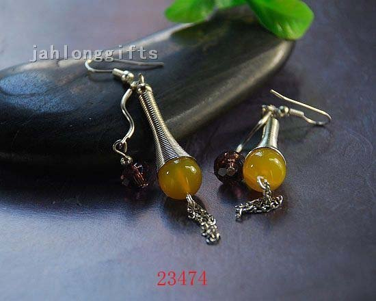 HOT SELLING! 40pair Mixed Lot ,Ethnic Tibet Silver Column Earring with Inlayed Yellow Agate Ear Pendant Free Shipping