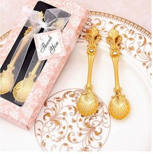 20 set/lot, 2 pcs/set 2015 new gold Decorative tea coffe spoons for wedding favors box ,party birthday gift  Souvenir for guests