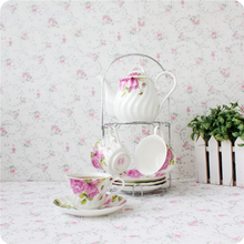 Free shipping, 9 afternoon tea coffee set peones 9 tea coffee cup holder 1 pot 4 cup and saucer set high quality