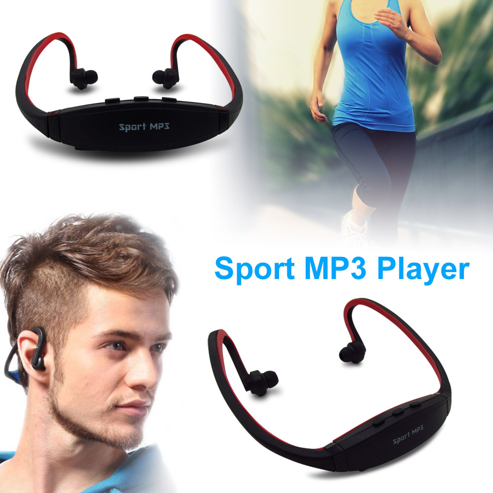 Portable Wireless Headphones Sport MP3 Player Earphones Headset Music Player Support Micro SD/TF Card FM Radio for Gym Running(China (Mainland))