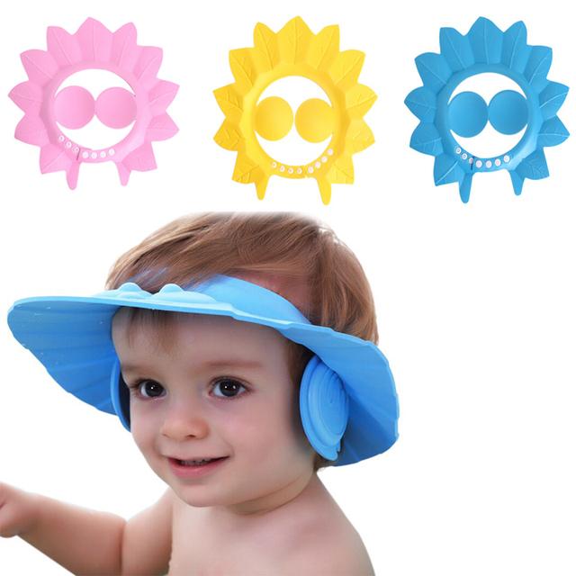 Сейф шампунь ребенка шапочка для душа купание ванной защитите мягкая шапка шляпа ...