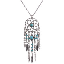 Only4U Bijoux Collares Colar Boho Tribal Tassels Feather Pendant Dream Catcher Necklace In Silver With Turquoise Bead #NK2000