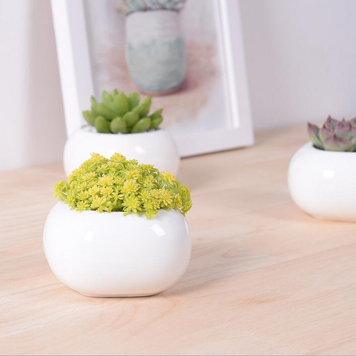 Zakka potted flower pots white glazed ceramic decorative mini pots for plant Desktop bonsai succulent pot garden supplies(China (Mainland))