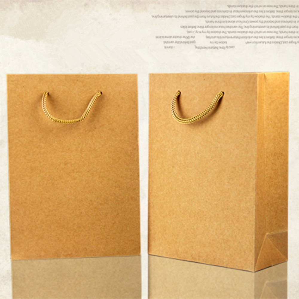 13*15+8cm Brown Kraft Paper Tote Bag Shopping Bag With Handle Recyclable Party Gift Pack Bag Pouch Retail Packaging For Boutique(China (Mainland))