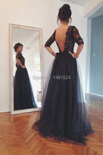Sexy Boat Neck Black Tulle Evening Dresses 2016 New Backless Prom Party Gown vestido de festa long(China (Mainland))