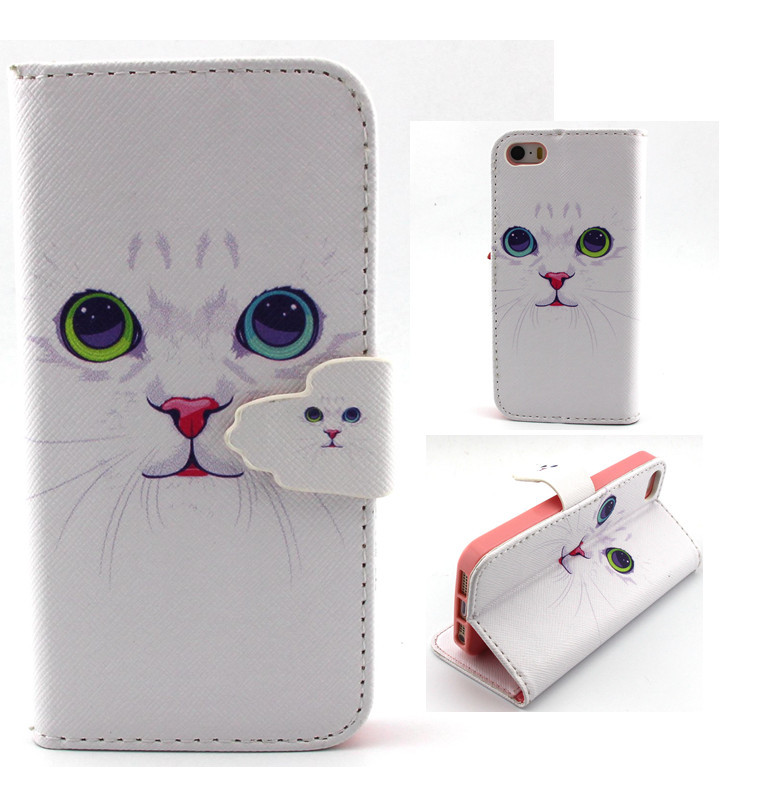 new pattern pretty white cute cat PU leather for apple iphone 5G / 5s case cover flip wallet Skin card phone Protective shell(China (Mainland))