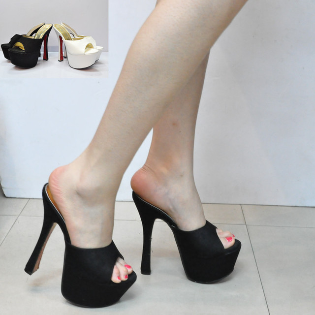 Black white high-heeled shoes thick heel slippers open toe platform simple fashion formal dress shoes 16