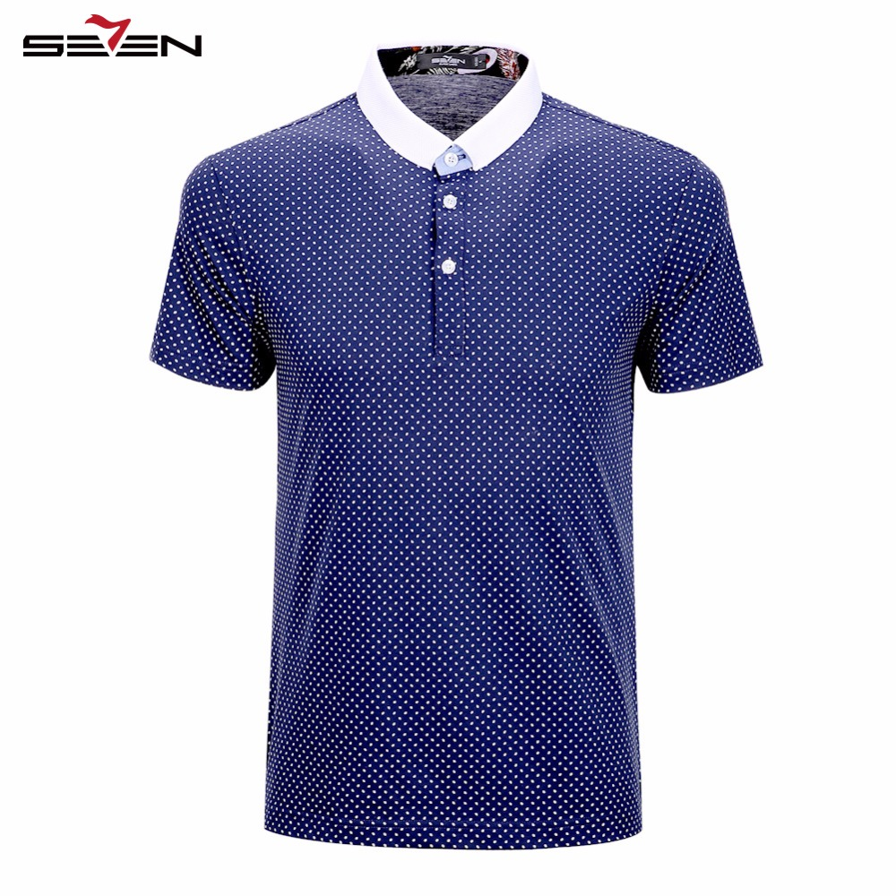 Seven7 Brand 2016 Summer Fashion Men Polo Shirts Short Sleeve Polka Dot Polos 100% Cotton Performance Polo Shirts 110T58090(China (Mainland))