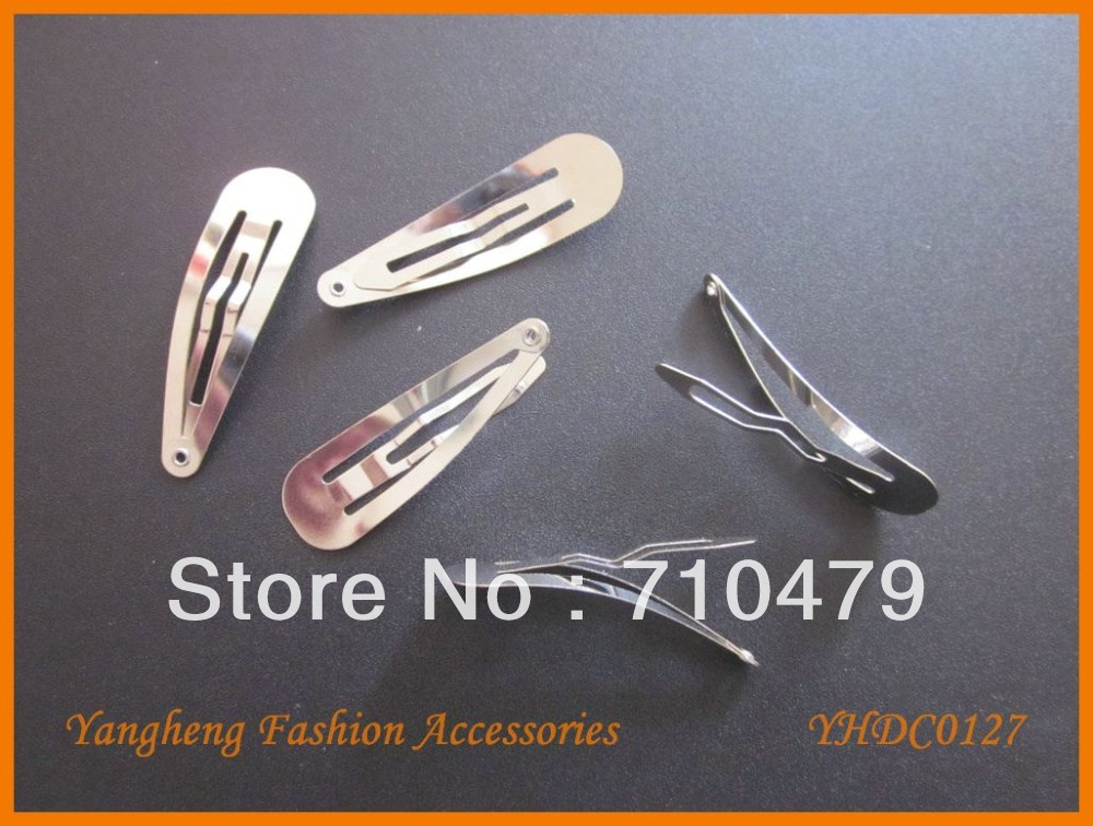 Free Shipping 100pcs 50mm super quality round end Guangdong plain snap hair clips DIY accessories(China (Mainland))