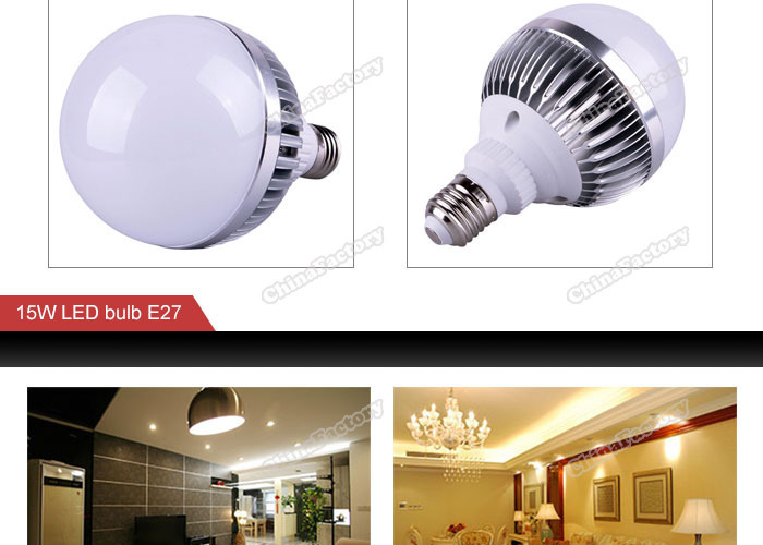 chinafactory quality assurance LED E27 15W Dimmable Pure Warm White Spot Light Ball Globe Bulb Lamp 85-265V buying quickly(China (Mainland))