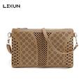 LIXU Mini Flap Fashion Women Messenger Bags PU Hollow Out Crossbody Bags Ladies Shoulder Clutch Purse