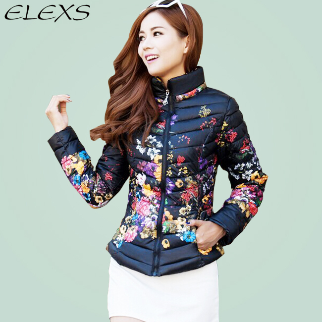 2015 New Brand Design Popular Flower printed Thicken Spring and Winter Down Coats Women jacket hoodie E621(China (Mainland))