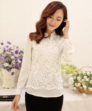 Buy New Blusas 2016 Women Chiffon render blouses Tops Shirts Plus size bow Beaded Patchwork embroidery OL Lace Blouse Shirt women for $11.18 in AliExpress store