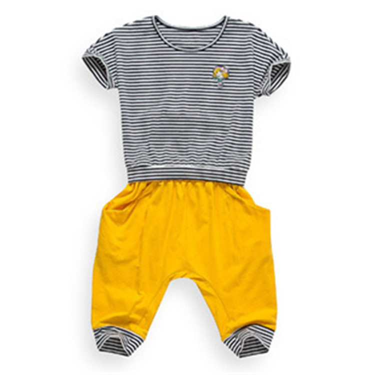 Free Shipping Kids Summer Striped Sport Clothing Set for Girls Cool Tops& Casual Shorts 6sets/lot K0872(China (Mainland))