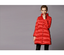 2015new Europe women's winter  thick large ture fur collar  long down parkas jacket