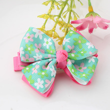 Small Bow Hairgrips Sweet Baby Girls Solid Printing Floral Wrap Safety Hair Clips Kids Barrettes Hairpins Hollow Ribbon Headwear