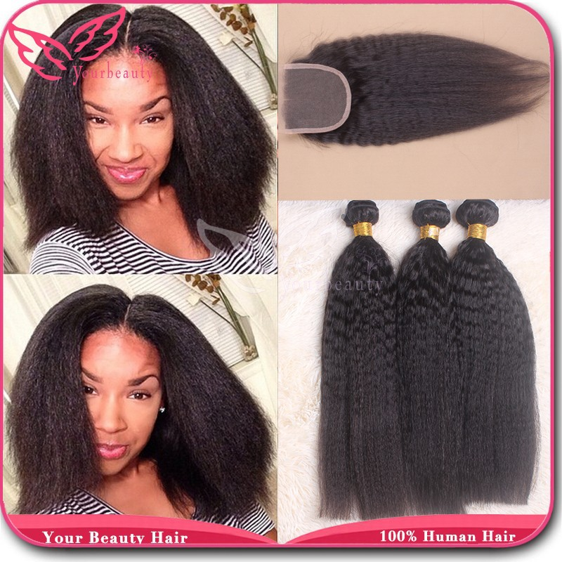 Peruvian Virgin Hair With Closure 3 Bundles With Lace Closure 7A Unprocessed Human Hair Peruvian Kinky Straight with Closure<br><br>Aliexpress