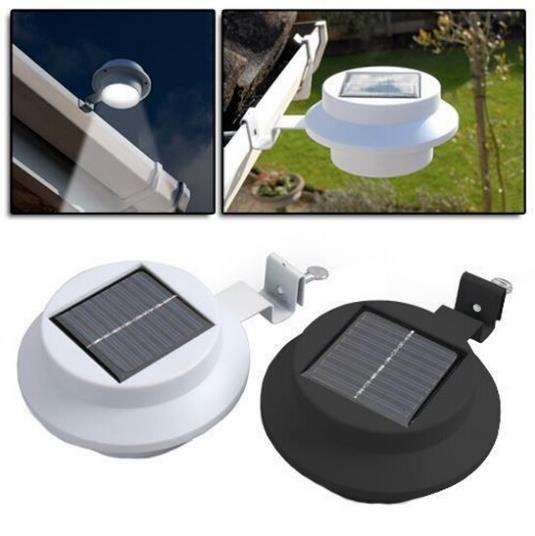 Landscape Lighting Gutter Mount: Super Bright Solar Waterproof 3 LED Light Gutter Fence
