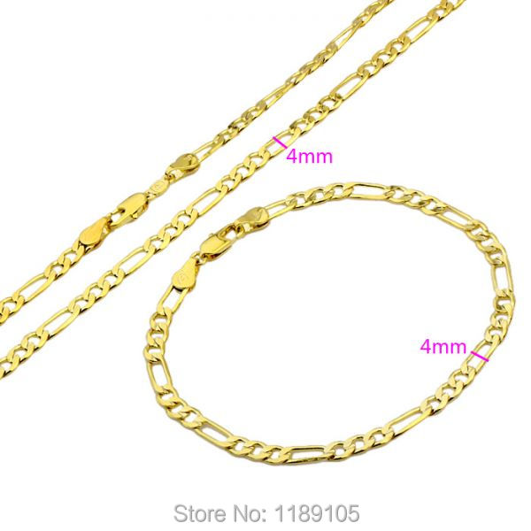 ITALIAN High Quality 14k 14ct Real yellow gold filled women necklace+bracelet sets Solid figaro link Chain fashion jewelry(China (Mainland))