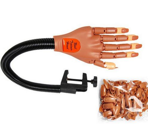 Biutee 1 hand + 100 tips Pro Nail Trainer Tool Super Flexible Fingers Personal & Salon Adjustable Practice Hand Nail Training(China (Mainland))