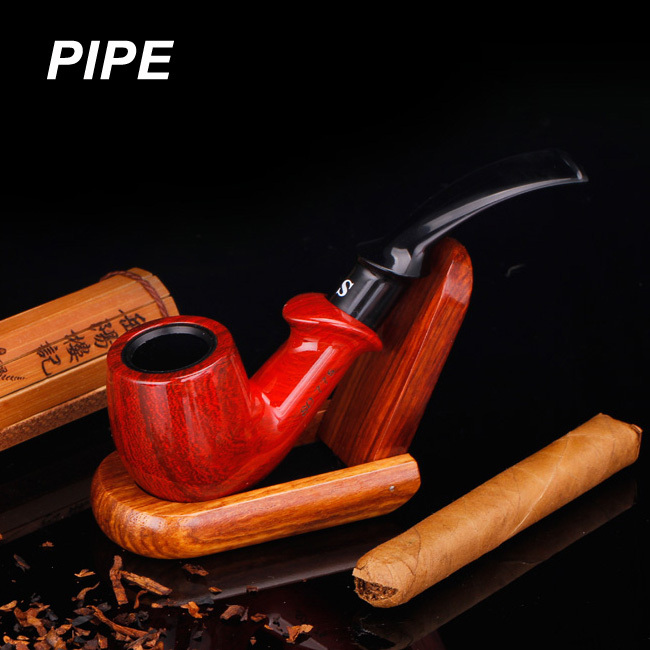 Retro Red Bakelitey Wood Smoking Pipe Bent Handmade Red Tobacco Pipe Smoking Pipes Send Smoking Set