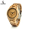 BOBO BIRD K29 Deer Head Dial Face Fashion Wooden Watch Zebra Wooden Men sized Clock Quartz