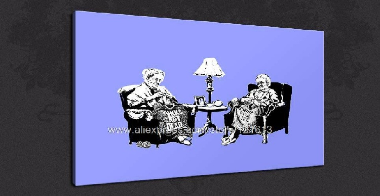 Banksy oil painting On Canvas Grannies Blue Graffiti Street Canvas Art Oil Paintings Classic Home Decorations Wall Study Art(China (Mainland))