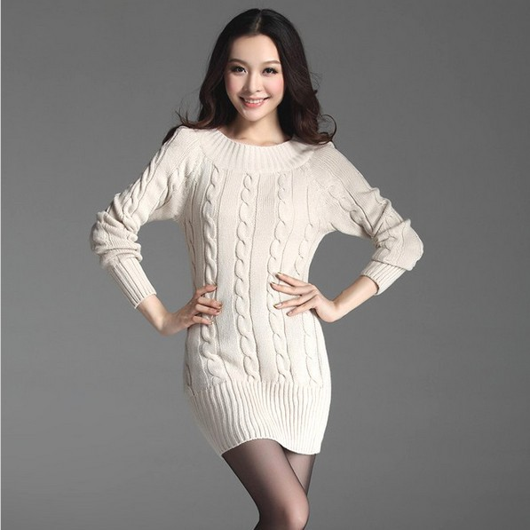9 Color Long Sweaters 2015 Women Fashion Autumn Fall Long Sleeve Cotton Twist Basic Knitted Pullover Ladies Winter Sweater Dress(China (Mainland))