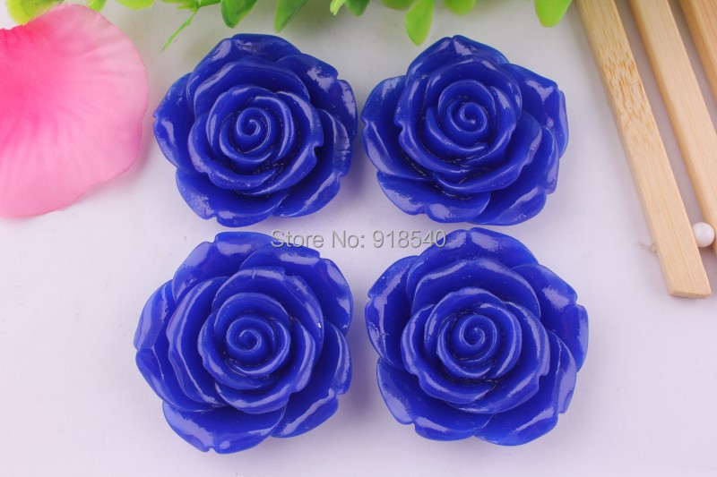 Royal Blue Color Large Big Size 42MM Chunky Resin Flower Beads with Holes 50PCS A Lot for Chunky Necklace Jewelry(China (Mainland))