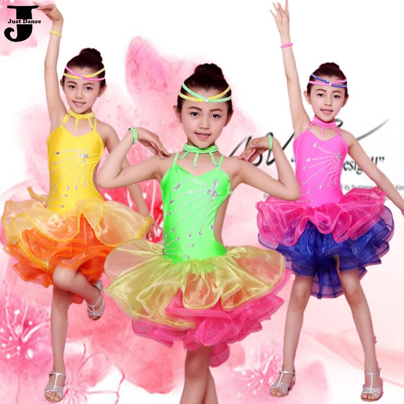 Latin Dance Dress Children Green/Rose/Yellow Girls Dance Dress For Cha Cha/Rumba/Samba/Ballroom Vestido De Baile Latino DQ4050(China (Mainland))