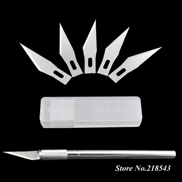 Aluminum Handle Craft Knife + 6 x Blade Scalpel Cutter Engraving Metal Tool for Phone Laptop PCB Repair Hobby Knives Hand Tools(China (Mainland))
