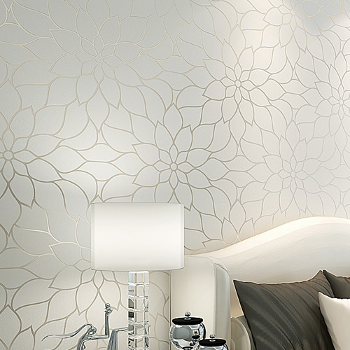 contemporary and contracted wallpaper white lotus non woven wallpaper warm sitting room bedroom. Black Bedroom Furniture Sets. Home Design Ideas