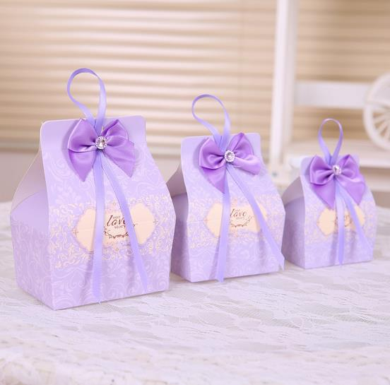 Free shipping 20Pcs wedding souvenirs purple Wedding Favor Candy Boxes Gift Box With Ribbons baby shower favors decoracion boda