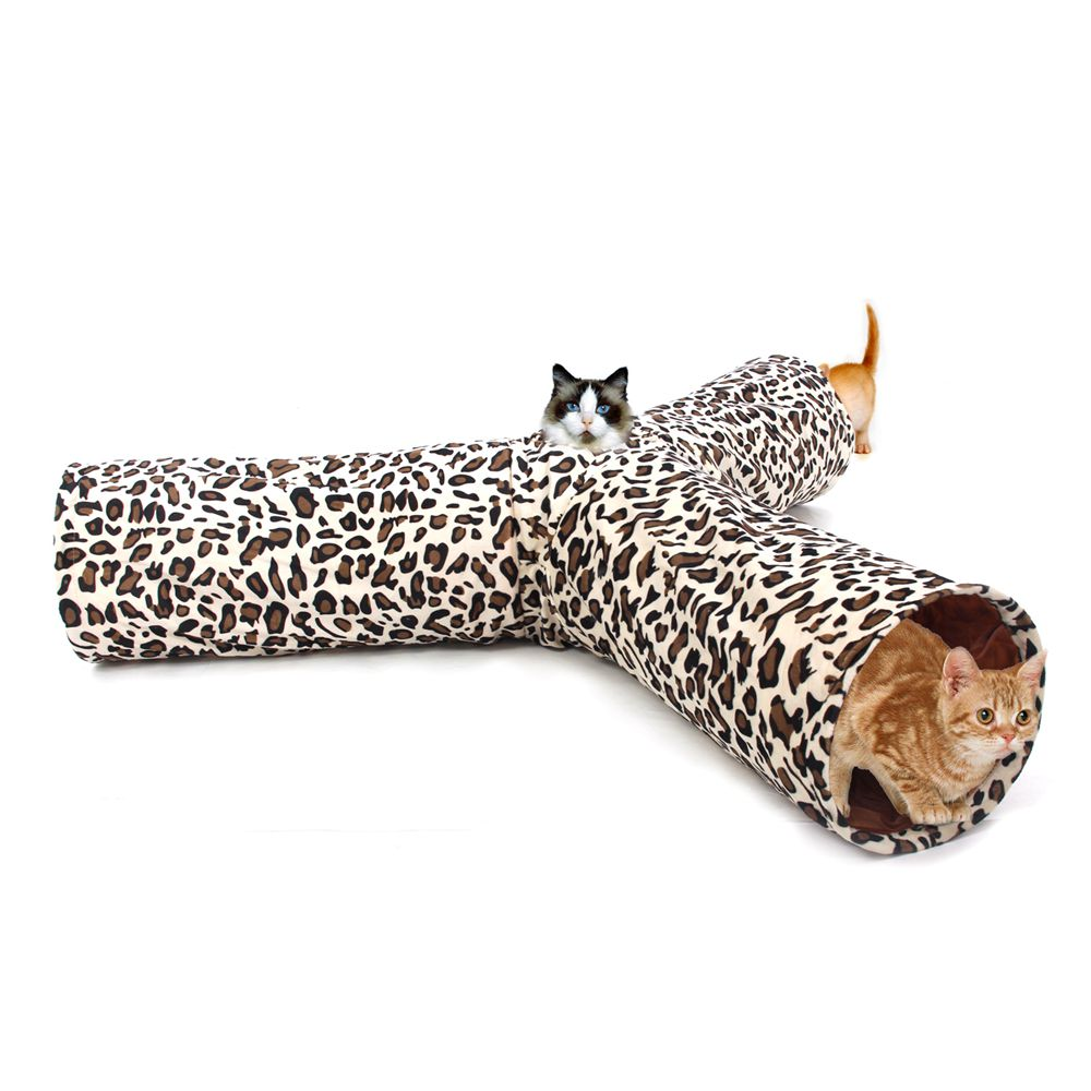 Domestic Delivery Cat Toy Leopard Print Crinkly 3 Ways Pet Cat Tunnel Kitten Puppy Play Toy Rabbit Toys Products For Animals(China (Mainland))