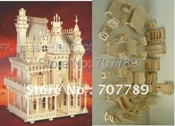 2015 Top Fashion Time-limited Toys Academia 3d Puzzle Model, Miniature Doll House+34pcs Furniture Play House Toy free Shipping