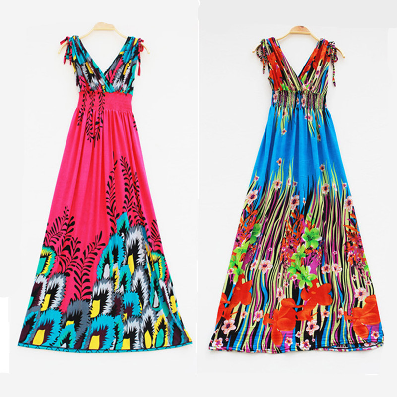 Summer 2015 brand fashion long maxi dress sleeveless v-neck plus size 4xl women clothing holiday sundress bohemian beach dresses - Sunflower Fashion store