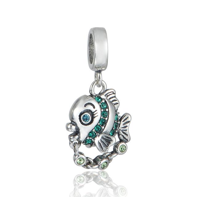 925 - серебристо-ювелирные бусины симпатичные рыба вымощает CZ камни бусины Fit Chamilia пандора браслеты серебро 925 DIY