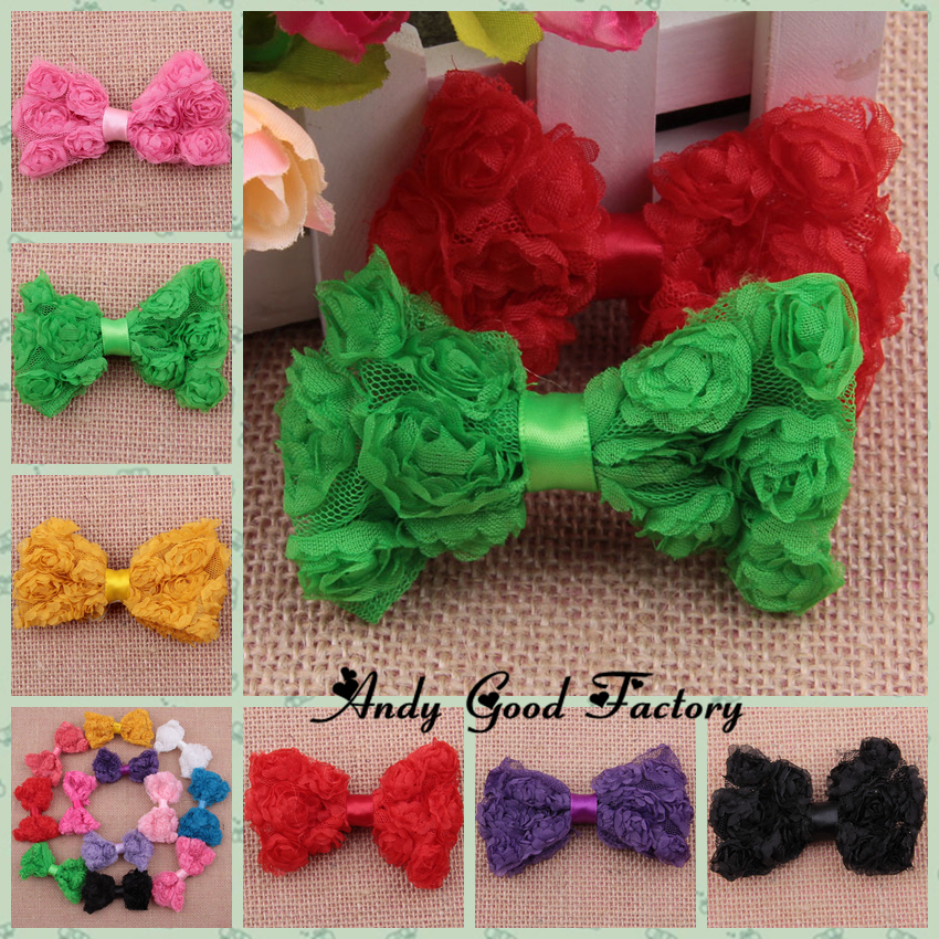"200 pcs lot 3.2"" Mesh Rosette for Baby Hairband Hair Clips Multil-row Rose Flowers Bow DIY Children Headwear Accessoriers FL018(China (Mainland))"